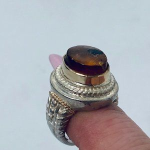 Vintage .925 Silver Retro Amber Oval Ring- sz 5